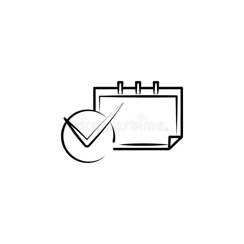 kalendarz, ostateczny termin ręka rysująca ikona Konturu symbolu projekt od biznesu setu ilustracja wektor