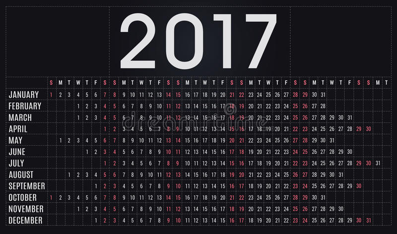 2017 kalendarz, planista, rozkład dla firm i intymny use, royalty ilustracja