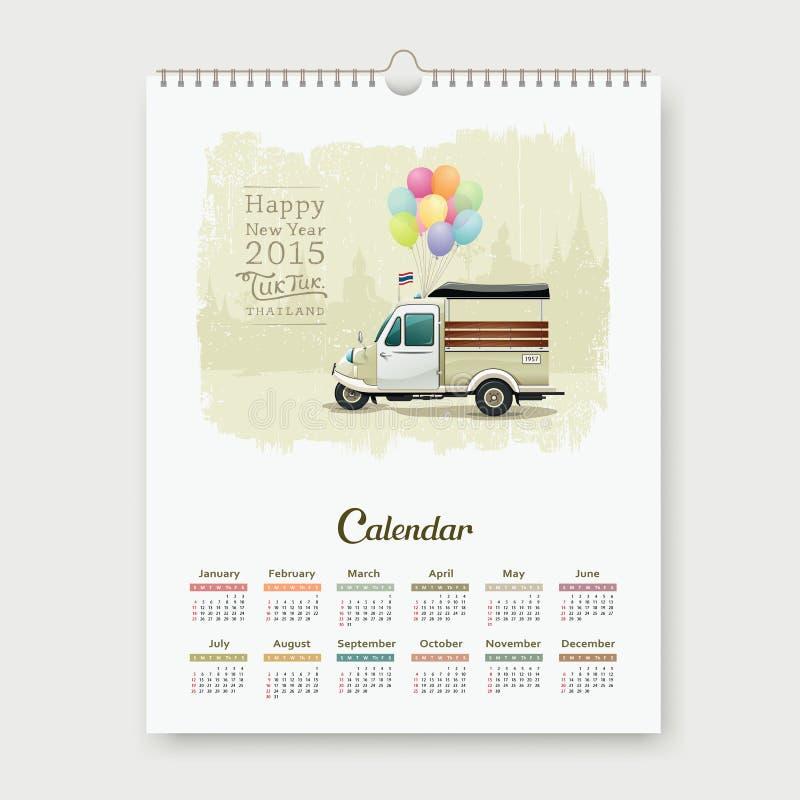 Kalendarz 2015, rocznika trójkołowiec Tajlandia royalty ilustracja