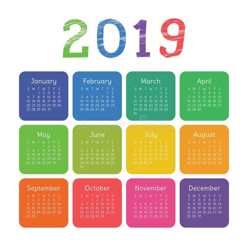 Kalendarz 2019 rok Kolorowy kieszeń kwadrata kalendarz Kreda, penc ilustracja wektor