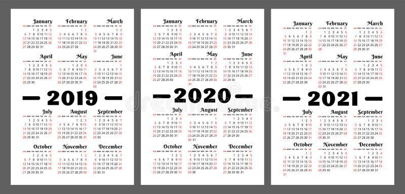 Kalendarz 2019, 2020, 2021 rok Kolorowy wektoru set Tygodnia początek ilustracji