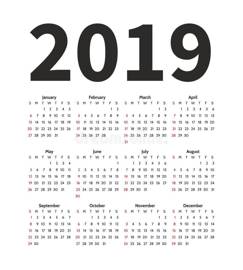 Kalendarz 2019 rok projekta wektorowy szablon Prosty minimalizmu styl Tydzień zaczyna od Niedziela Portret orientacja Set ilustracji