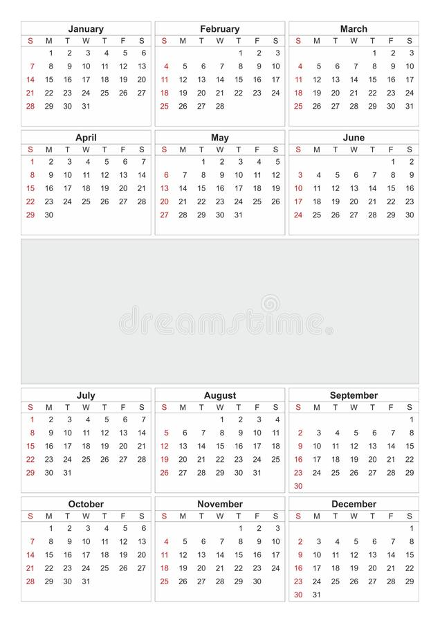 Kalendarz 2018 rok prosty styl Tydzień zaczyna od Niedziela zdjęcia royalty free