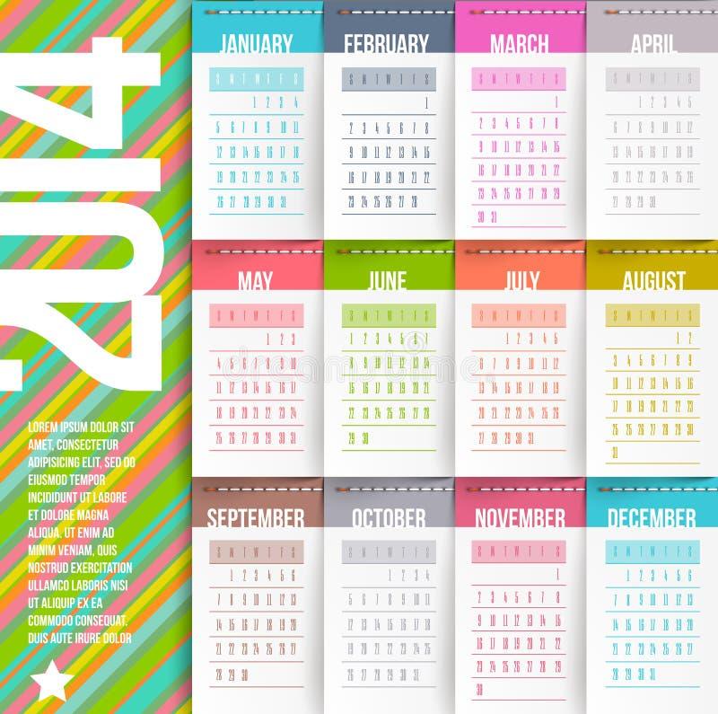 Kalendarz 2014 roku royalty ilustracja