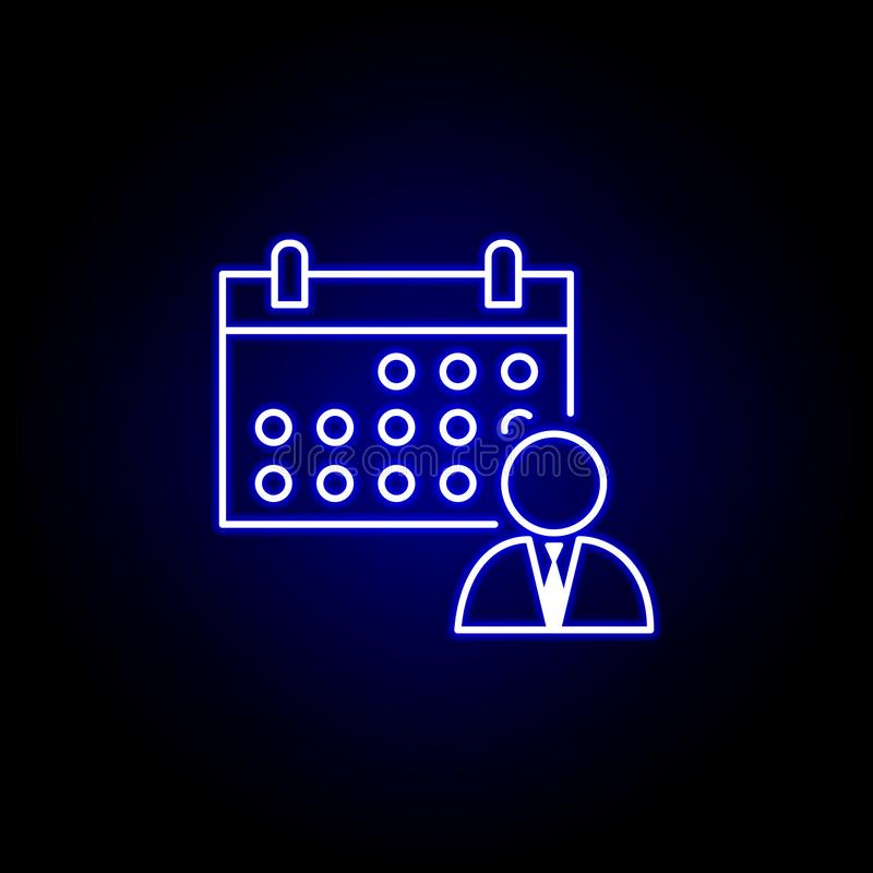 Kalendarz, rozkład, pracownik ikona Elementy dzia? zasob?w ludzkich ilustracyjni w neonowej stylowej ikonie Znaki i symbole mog?  ilustracji
