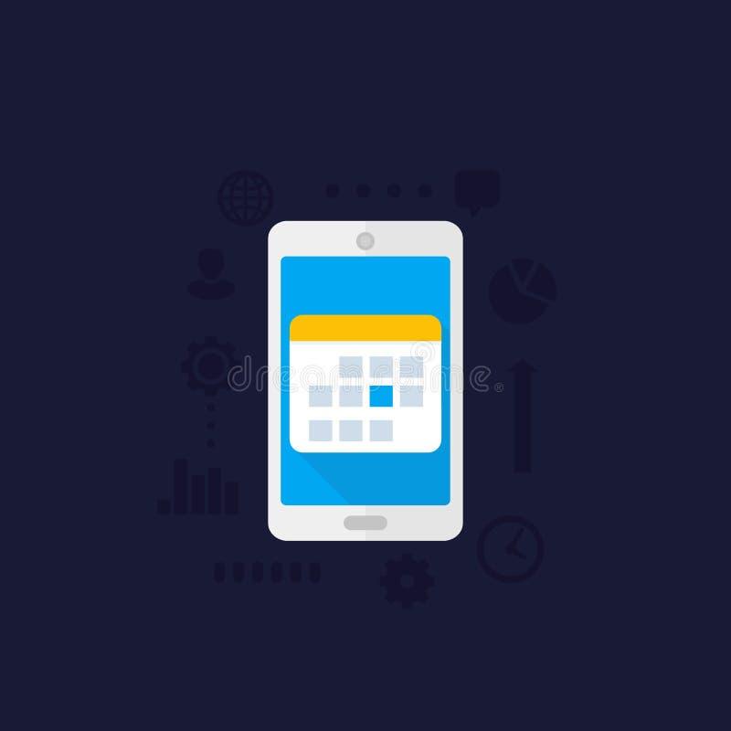 Kalendarz, rozkład w smartphone, wektorowa ikona ilustracji