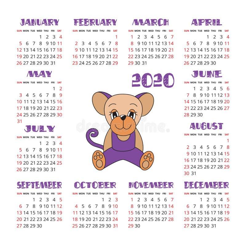 Kalendarz 2020 Szczura symbol nowy rok Wektorowy projekta szablon chi?ski horoskop Kolorowy angielszczyzna kwadrata kieszeni kale ilustracja wektor