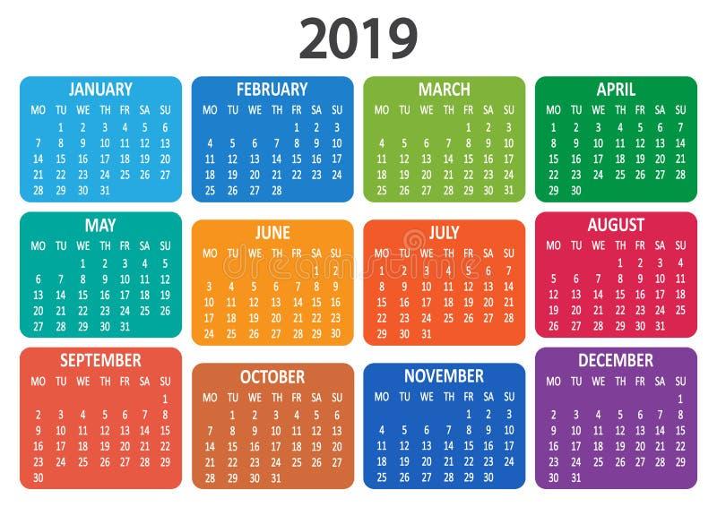 Kalendarz 2019 Tydzień zaczyna od Poniedziałku również zwrócić corel ilustracji wektora ilustracji