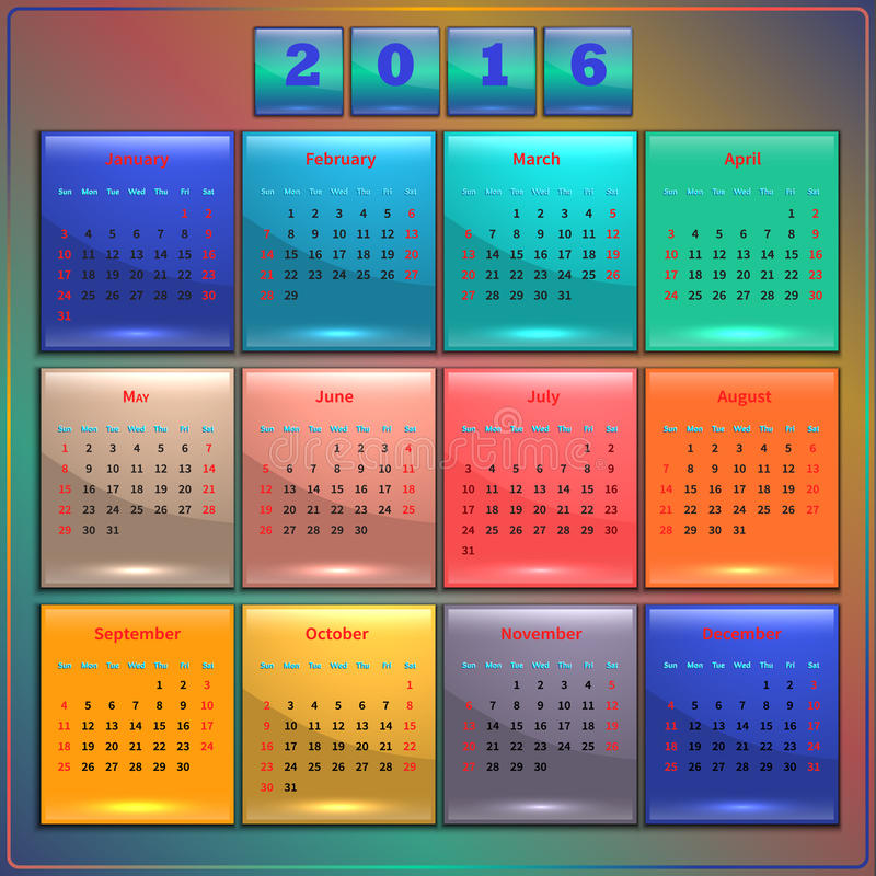 Kalendarz 2016 wektorowa Niedziela pierwszy 12 miesiąca ilustracji