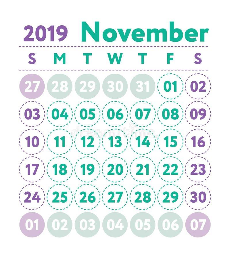Kalendarz 2019 Wektorowy angielszczyzna kalendarz Listopadu miesiąc Tygodnia sta ilustracji