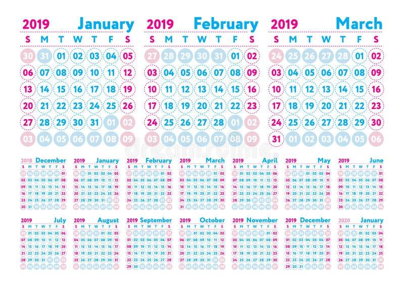 Kalendarz 2019 Wektorowy angielszczyzna kalendarz Styczeń, Luty, marsz royalty ilustracja