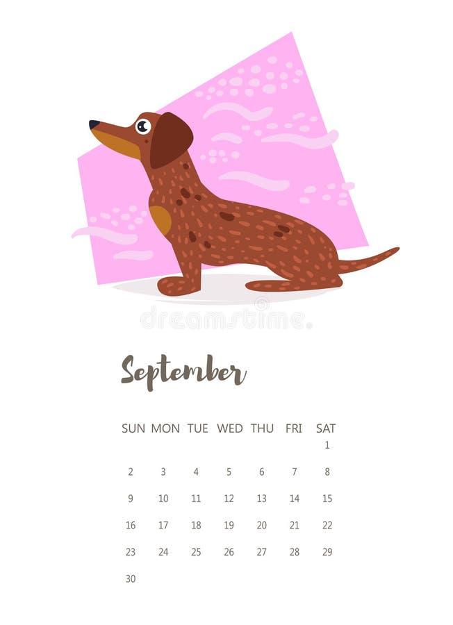 Kalendarz 2018 Wrzesień wektor ilustracja wektor