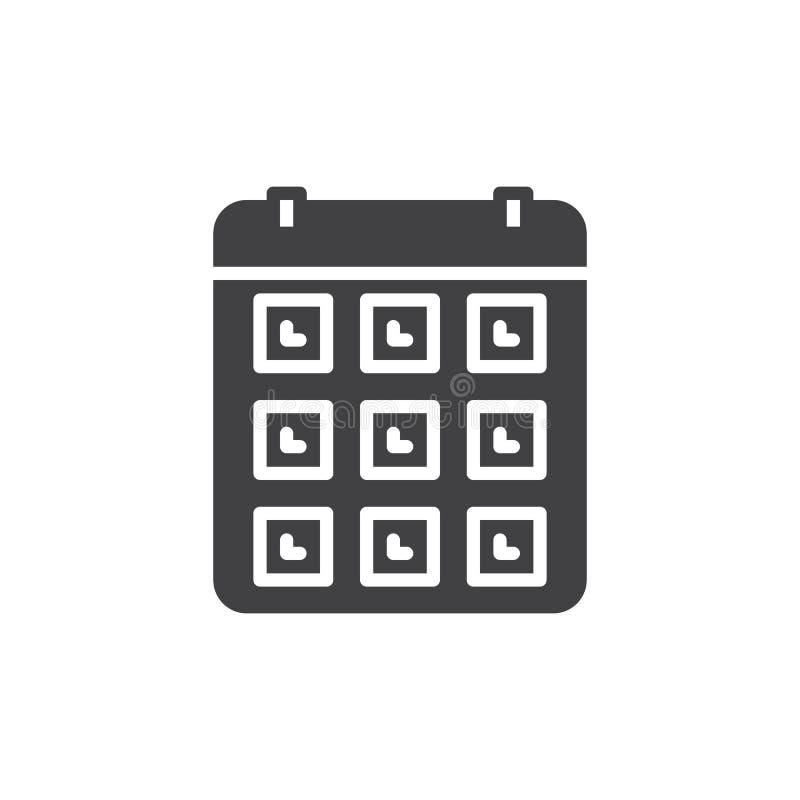 Kalendarz, wydarzenie ikony wektor, wypełniający mieszkanie znak, stały piktogram odizolowywający na bielu ilustracja wektor
