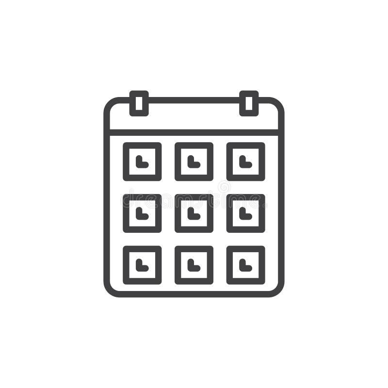 Kalendarz, wydarzenie kreskowa ikona, konturu wektoru znak, liniowy stylowy piktogram odizolowywający na bielu royalty ilustracja