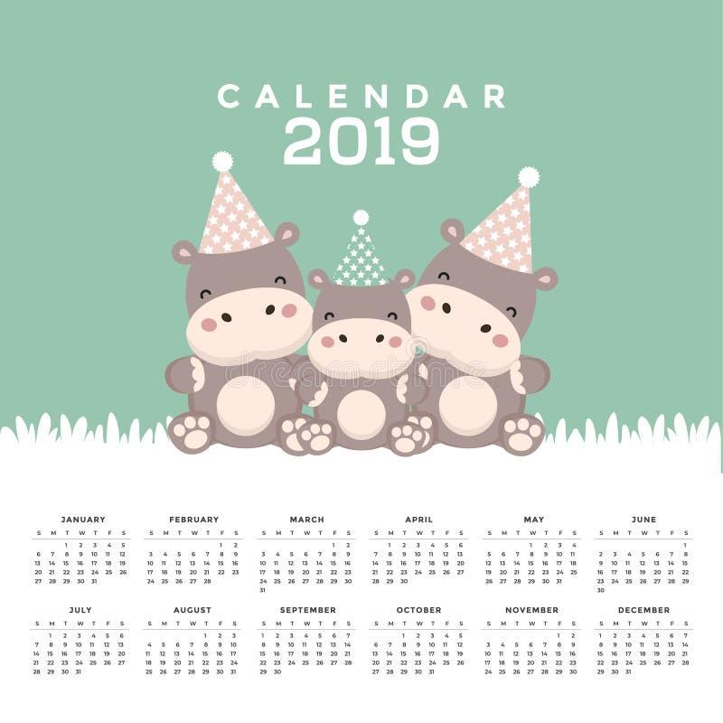 Kalendarz 2019 z ślicznym hipopotamem royalty ilustracja