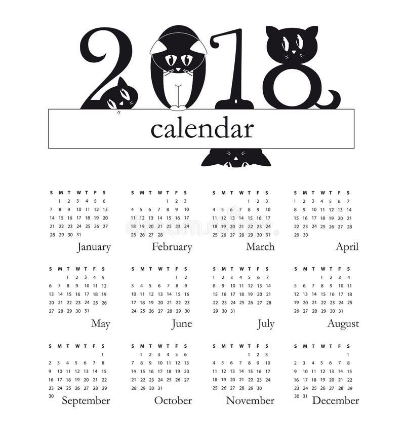 2018 kalendarz z śmiesznymi kotami jako cyfry - tydzień zaczyna na Niedziela ilustracja wektor