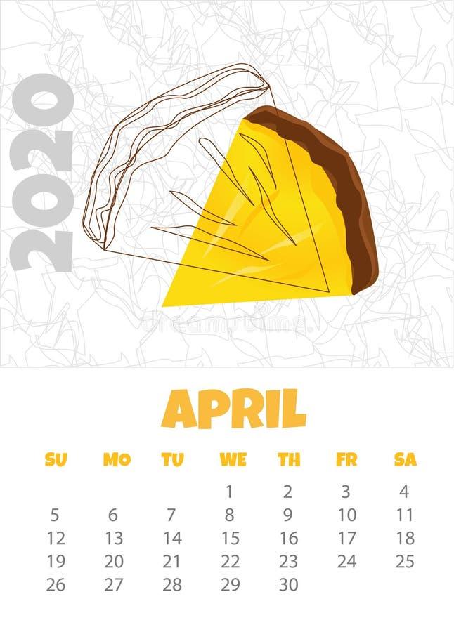 Kalendarz 2020 z ananasem fartuch r?wnie? zwr?ci? corel ilustracji wektora royalty ilustracja