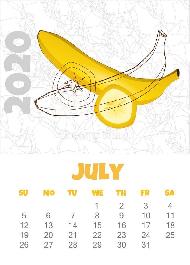Kalendarz 2020 z bananem bigos r?wnie? zwr?ci? corel ilustracji wektora ilustracji