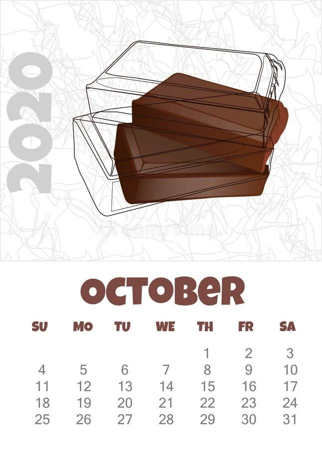 Kalendarz 2020 z czekoladą o?miornica r?wnie? zwr?ci? corel ilustracji wektora ilustracja wektor