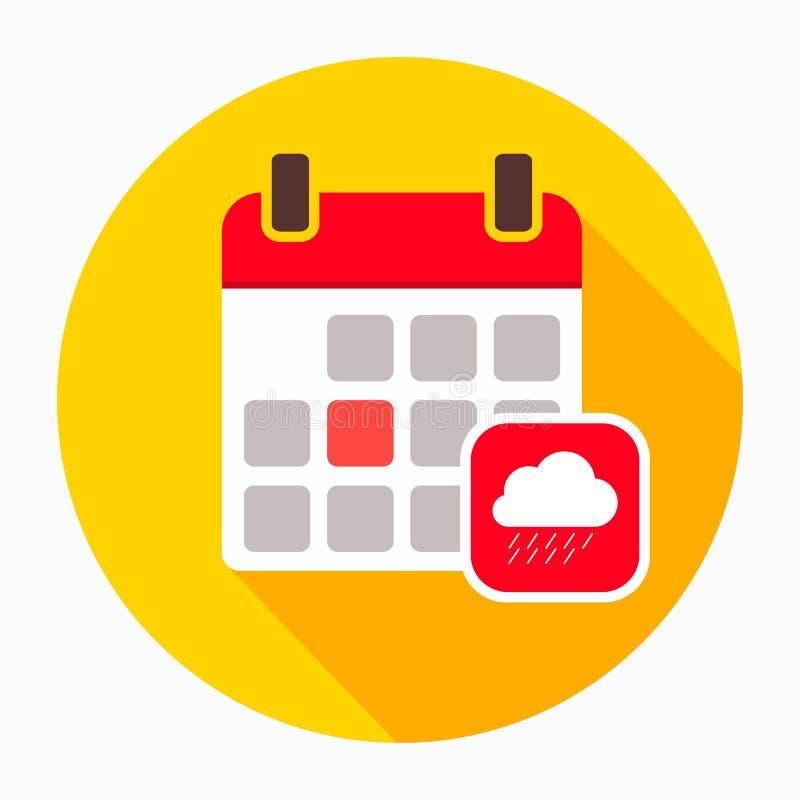 Kalendarz z dżdżystym obłocznym ikona wektorem, wypełniający mieszkanie znak, stały piktogram odizolowywający na bielu Jesień sez ilustracji
