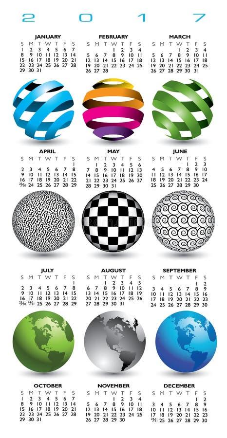 2017 kalendarz z dziewięć abstrakcjonistycznymi kulami ziemskimi ilustracja wektor