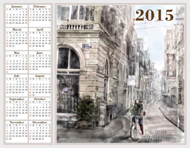 Kalendarz 2015 z ilustracją miasto ulica ilustracji