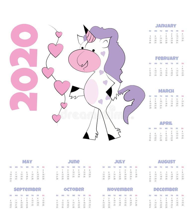 Kalendarz 2020 z jednorożec r?wnie? zwr?ci? corel ilustracji wektora Śmieszna jednorożec z sercami royalty ilustracja