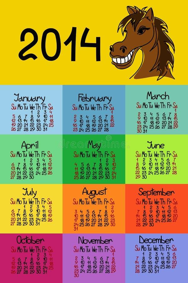 Kalendarz 2014 Z Koniem Fotografia Stock