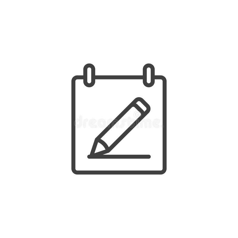 Kalendarz z ołówek linii ikoną ilustracji