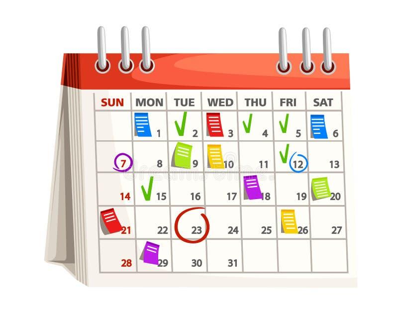 Kalendarz z ocenami Notatki na kalendarzowych datach 3d pojęcia wizerunku planowanie odpłacał się Wektorowa ilustracja odizolowyw royalty ilustracja