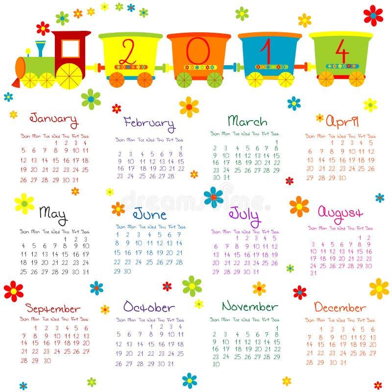 2014 kalendarz z pociągiem dla dzieciaków royalty ilustracja