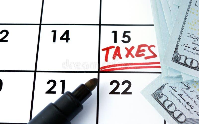 Kalendarz z słowo podatkami obraz royalty free