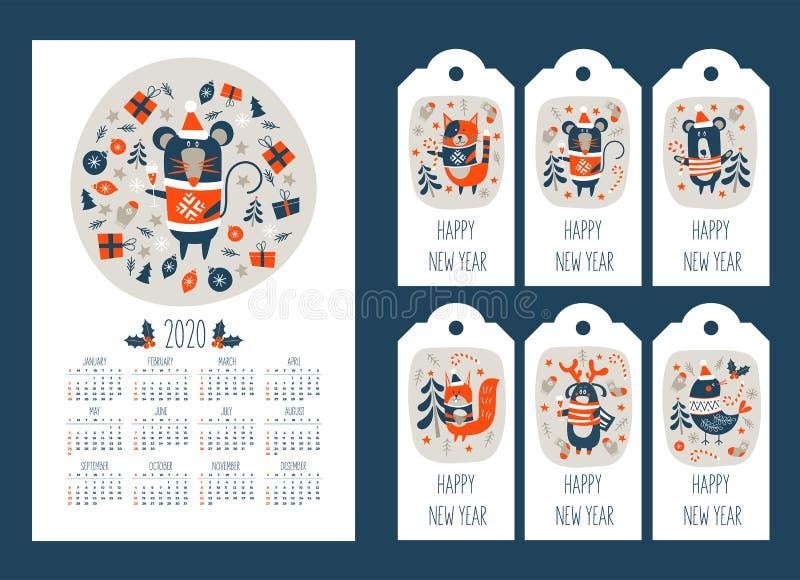2020 kalendarz z symbolem roku myszy Zestaw znaczników z noworocznymi pozdrowieniami i uroczymi zwierzętami Ilustracja wektorowa zdjęcie stock
