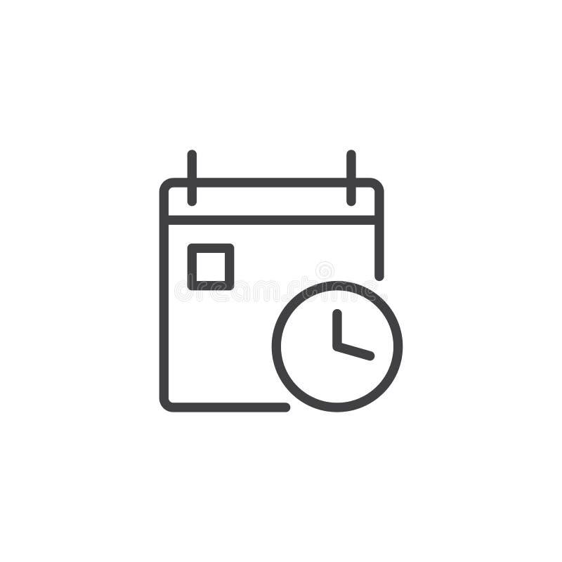 Kalendarz z zegarową kontur ikoną ilustracji