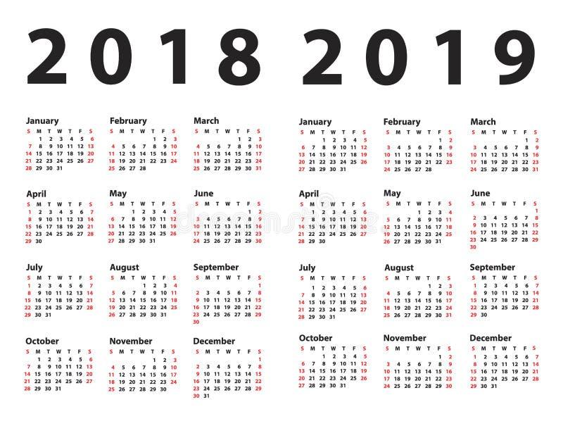 Kalendarz 2018 zaczynając od Niedziela royalty ilustracja