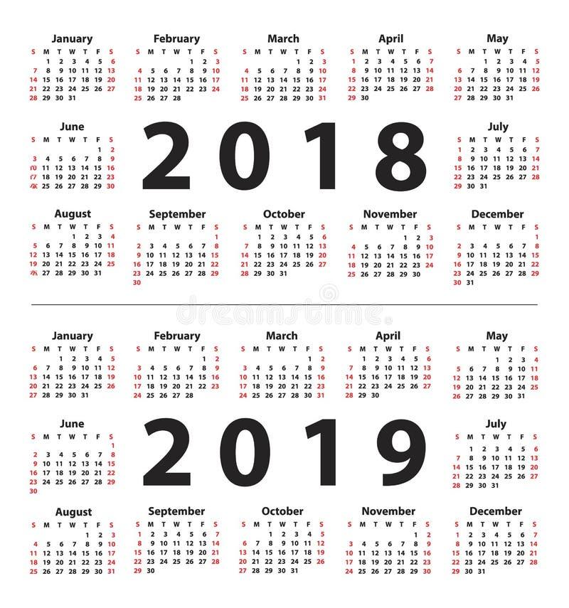 Kalendarz 2018, 2019 zaczynając od Niedziela i Set 12 miesiąca royalty ilustracja