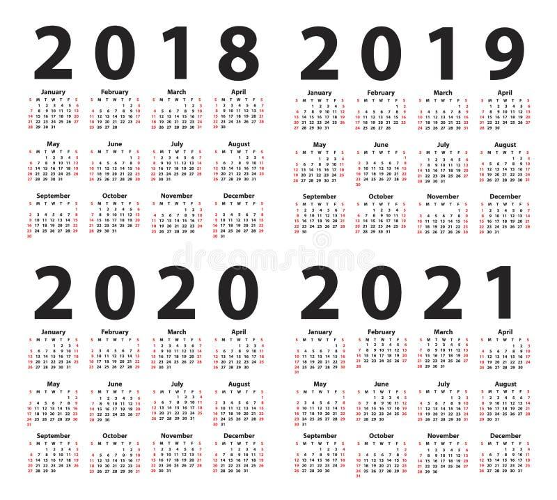 Kalendarz 2018 zaczynając od Niedziela, Set 12 miesiąca royalty ilustracja