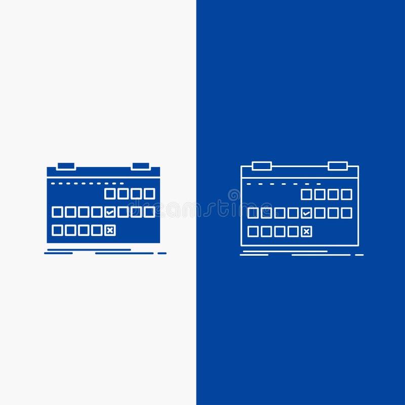 Kalendarza, daty, wydarzenia, uwolnienia, rozkład linii i glifu sieć, Zapina w Błękitnego koloru Pionowo sztandarze dla UI, UX, s royalty ilustracja