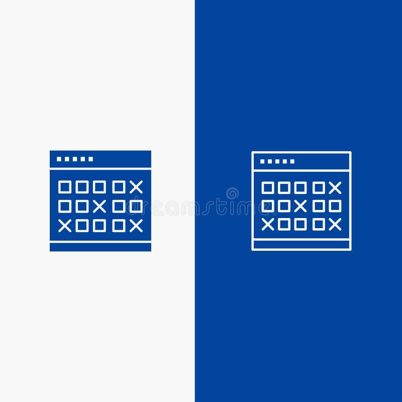 Kalendarza, daty, wydarzenia, wydarzeń, miesiąca, rozkładu, rozkład zajęć linii i glifu Stałej ikony sztandaru glifu, i linii Błę royalty ilustracja