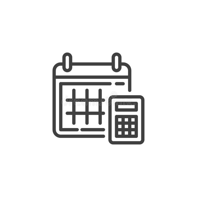 Kalendarza i kalkulatora kreskowa ikona ilustracja wektor