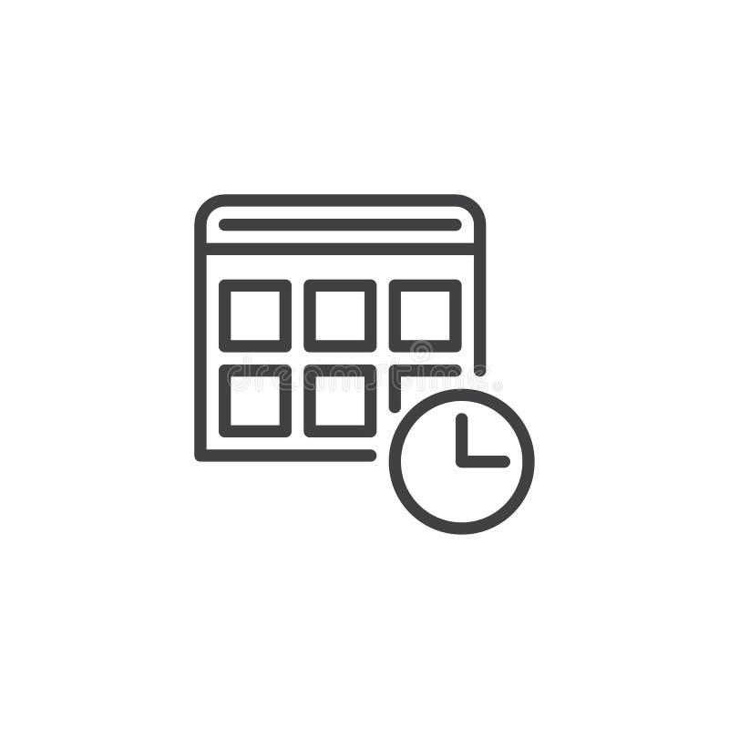 Kalendarza i zegaru konturu ikona ilustracja wektor