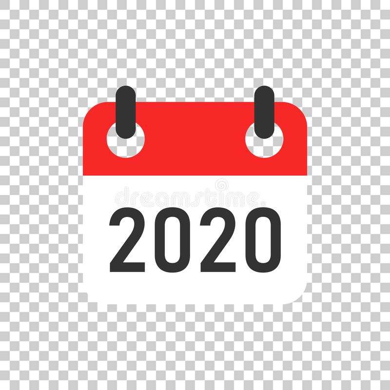 Kalendarza organizatora 2020 ikona w przejrzystym stylu Nominacyjnego wydarzenia wektorowa ilustracja na odosobnionym tle Miesiąc royalty ilustracja