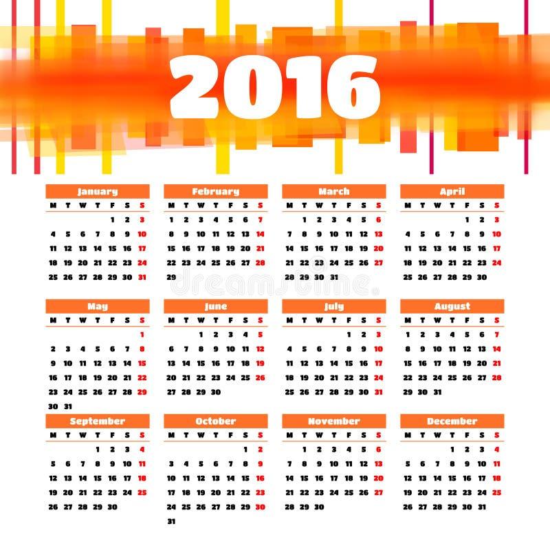 Kalendarza szablonu 2016 projekt z chodnikowa obrazkiem royalty ilustracja
