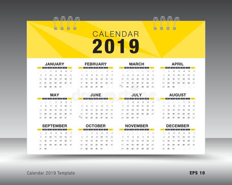 Kalendarza szablonu 2019 układ Żółta biznesowa broszurki ulotka ilustracja wektor