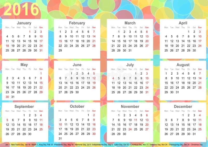 Kalendarza tła okregów 2016 kolorowy usa ilustracja wektor