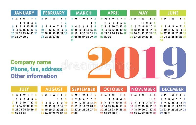 Kalendarza 2019 wektorowa podstawowa siatka Prostego projekta szablon anglicy ilustracja wektor