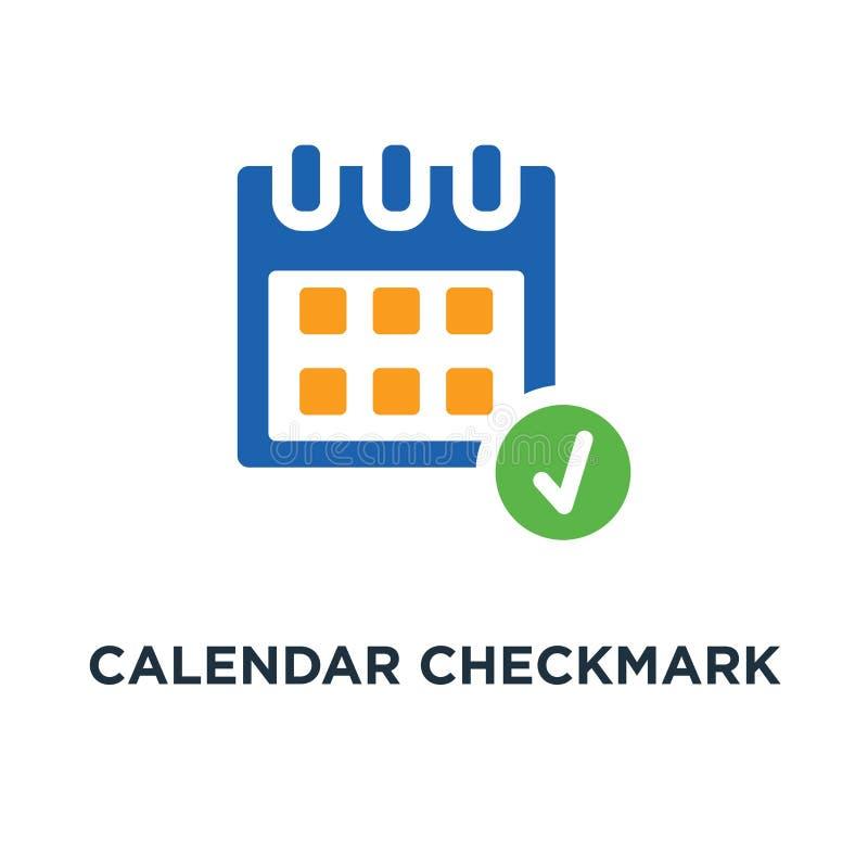 kalendarzowa checkmark ikona wydarzenia pojęcia symbolu projekt, dzień lub Mon, ilustracja wektor