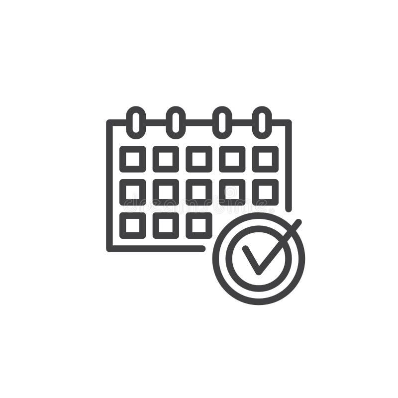 Kalendarzowa czek oceny linii ikona ilustracji