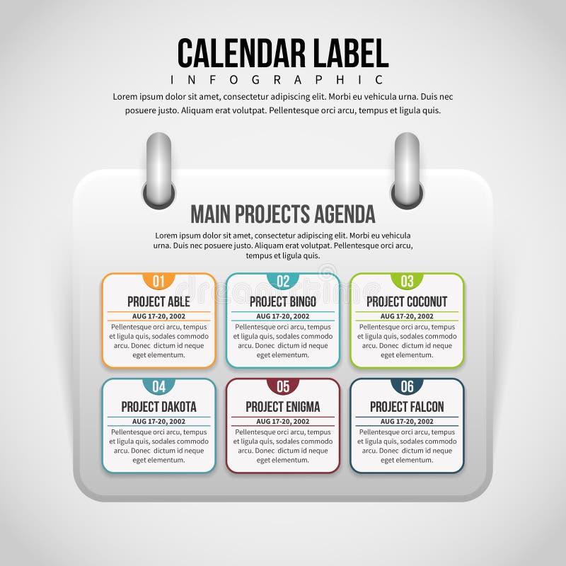 Kalendarzowa etykietka Infographic ilustracja wektor