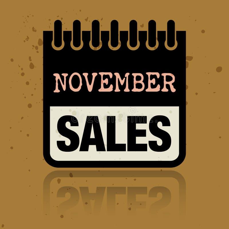 Kalendarzowa etykietka z słowo Listopadu sprzedażami pisać inside ilustracji